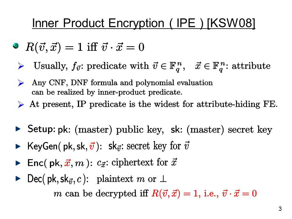 Inner Product Encryption ( IPE ) [KSW08]